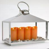 Edelstahl Laterne inkl 4 LED Kerzen