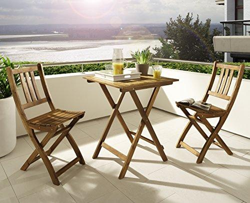 balkontisch klappbarer ge ltes akazienholz. Black Bedroom Furniture Sets. Home Design Ideas