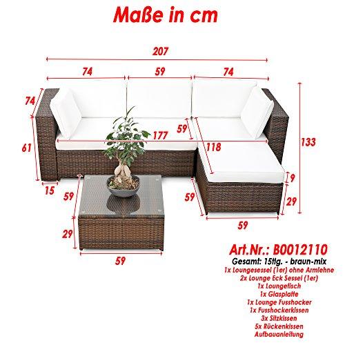 15tlg balkon polyrattan lounge ecke braun. Black Bedroom Furniture Sets. Home Design Ideas