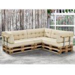 Paletten-Sofa komplett mit Kissen und Lehne