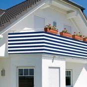 Balkon Sichtschutz blau/weiß gestreift